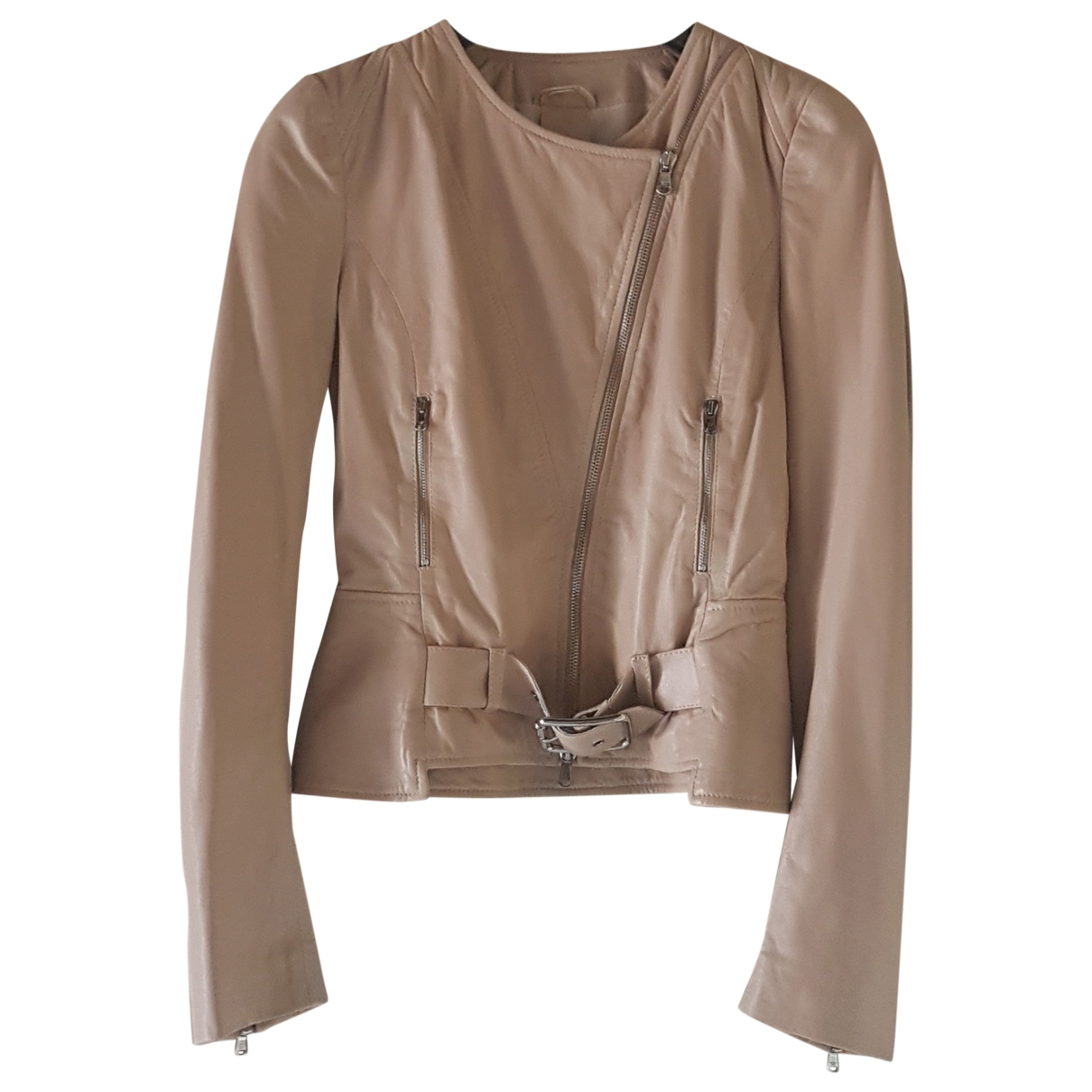Patrizia Pepe \N Pink Leather Leather jacket for Women 42 IT