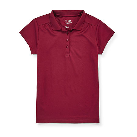 IZOD Performance Mesh Little & Big Girls Short Sleeve Wrinkle Resistant Moisture Wicking Polo Shirt, 18.5 Plus , Red