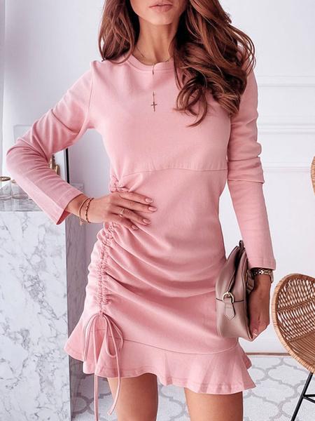 Milanoo Vestidos ajustados de manga larga rosadas Cuello joya informal Volantes Vestido tubo con cordon consciente del cuerpo