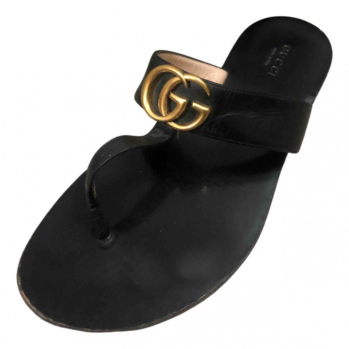 Gucci - Sandales Double G pour femme en cuir - noir
