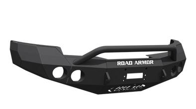 GMC Front Winch Bumper Round Light Ports 2500,3500 08-10 BLACK Pre-Runner Guard Road Armor 37404B Stealth Series