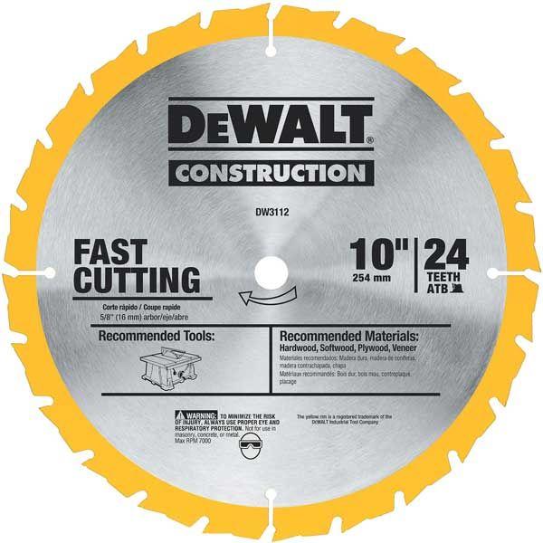 DW3112 Jobsite Circular Saw Blade 10