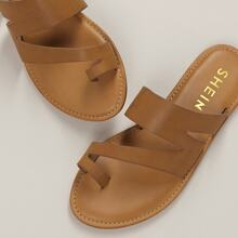One Sided Toe Ring Slip On Flat Sandals
