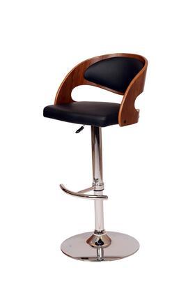 LCMASWBABLWA Malibu Swivel Bar stool In Black PU/ Walnut Veneer and Chrome