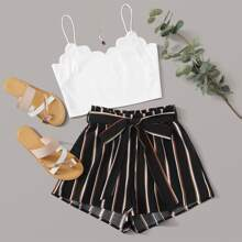 Scallop Trim Cami Top & Paperbag Waist Striped Shorts Set