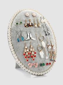 Faux Pearl Decor Earring Storage Rack