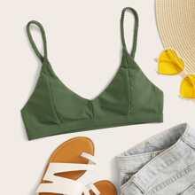 Top bikini con tira trenzada con diseño de costura