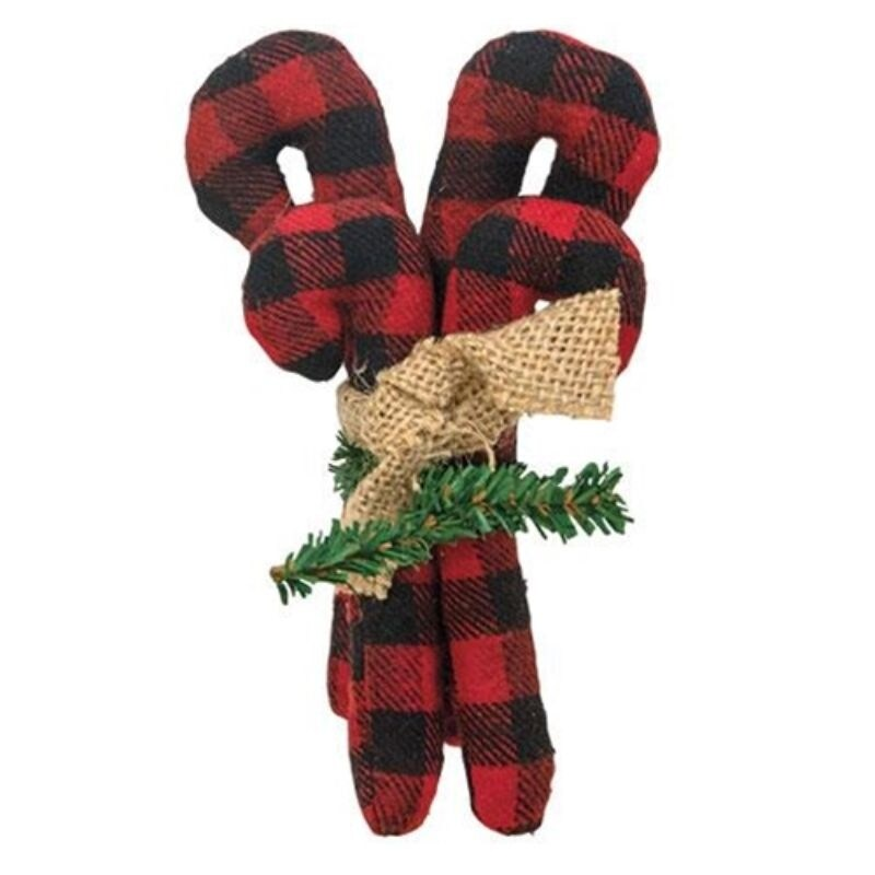 4/Set Buffalo Check Candy Cane Bundle - Red (Red)