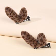 2pcs Leopard Print Antlers Hair Clip