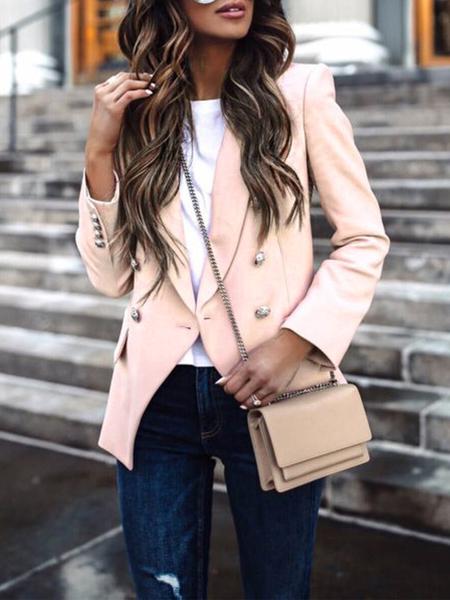 Yoins Button Design Lapel Collar Long Sleeves Blazer
