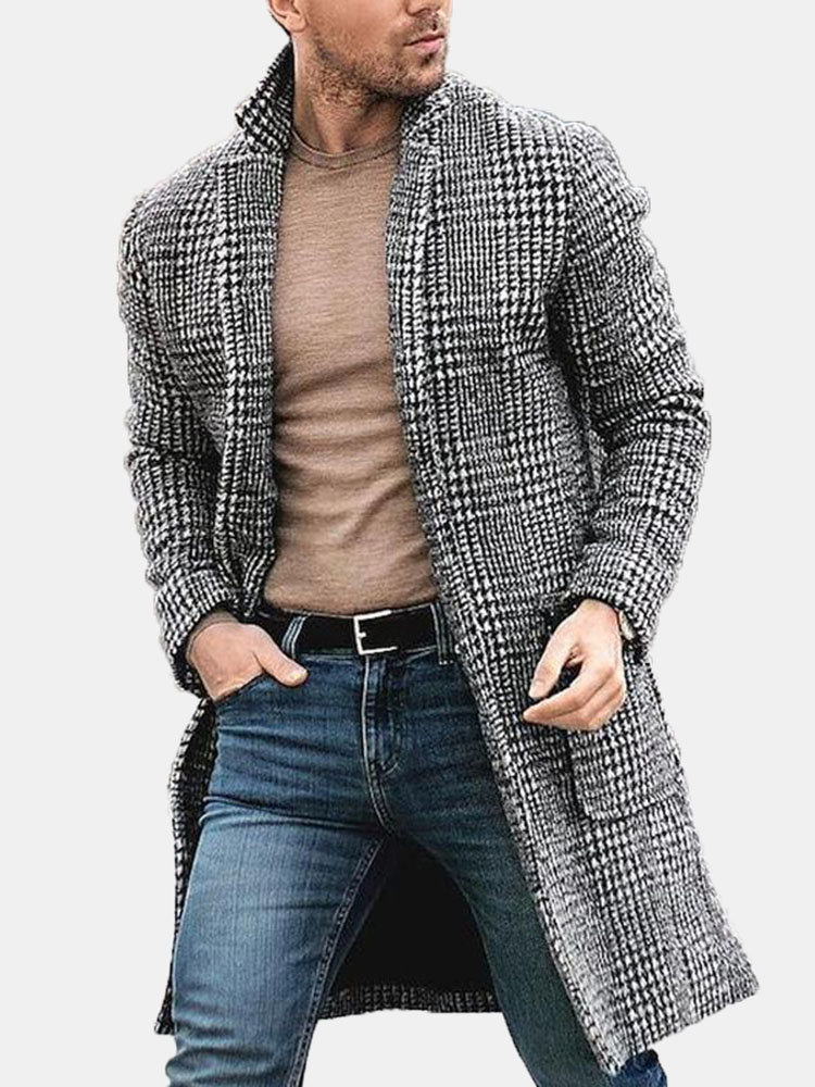 Mens Autumn Fashion Handsome Mid-long Single Breasted Tartan Woolen Coat