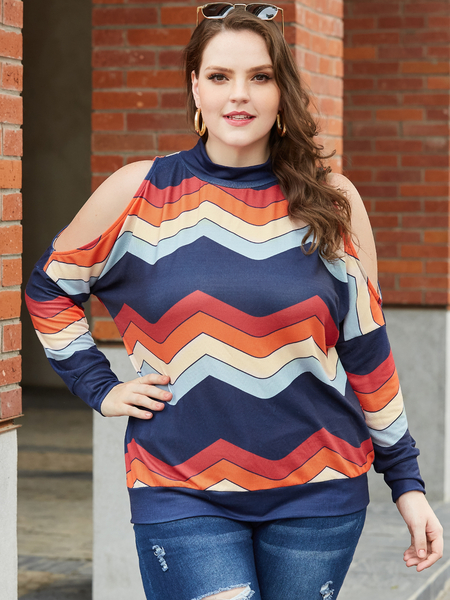 YOINS Plus Size Navy Color Blocking Cold Shoulder Long Sleeves Tee