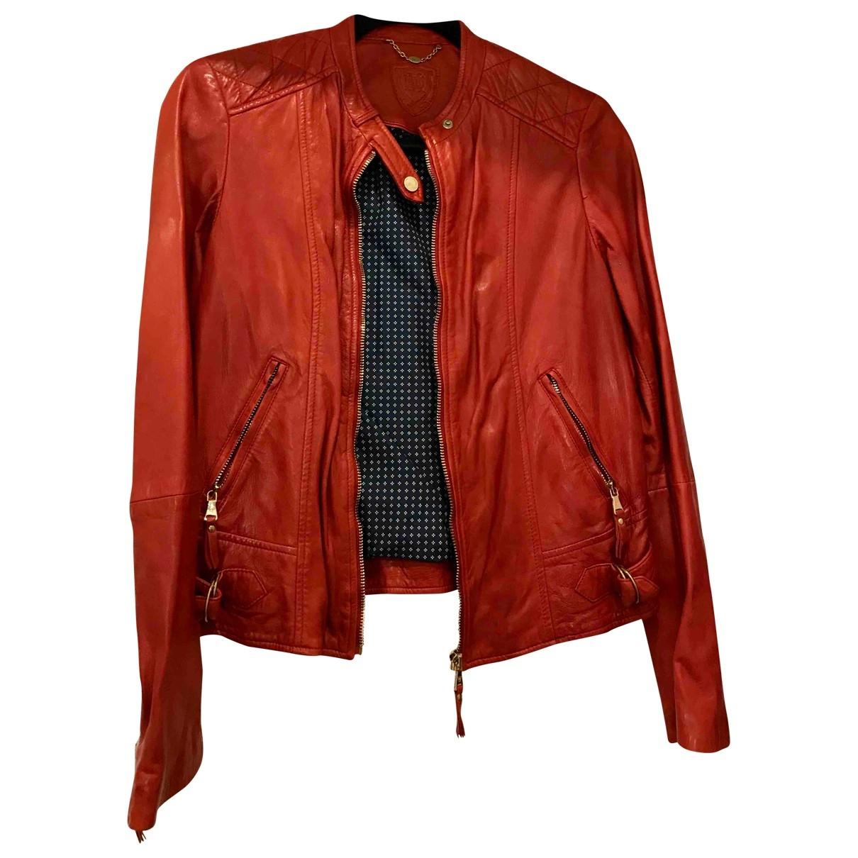 Massimo Dutti \N Jacke in  Rot Leder