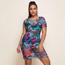 Plus Tie Dye Print Lettuce Trim Sheer Dress