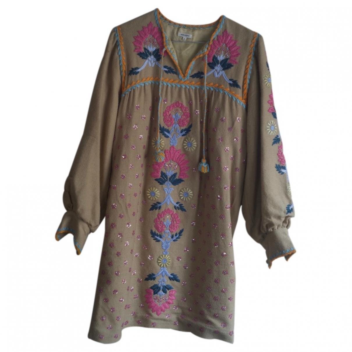 Manoush - Robe   pour femme en a paillettes - beige