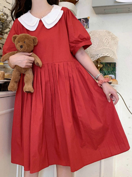 Milanoo Sweet Lolita OP Dress Peter Pan Collar Short Sleeve Lolita One Piece Dresses
