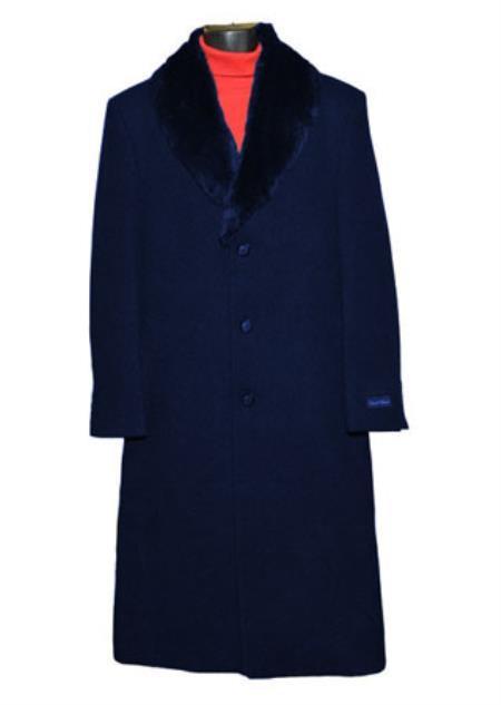 Dark Blue Fur Collar Black 3 Button Single Breasted Wool Overcoat