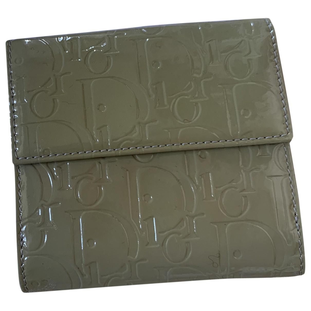 Dior - Portefeuille   pour femme en cuir verni - kaki