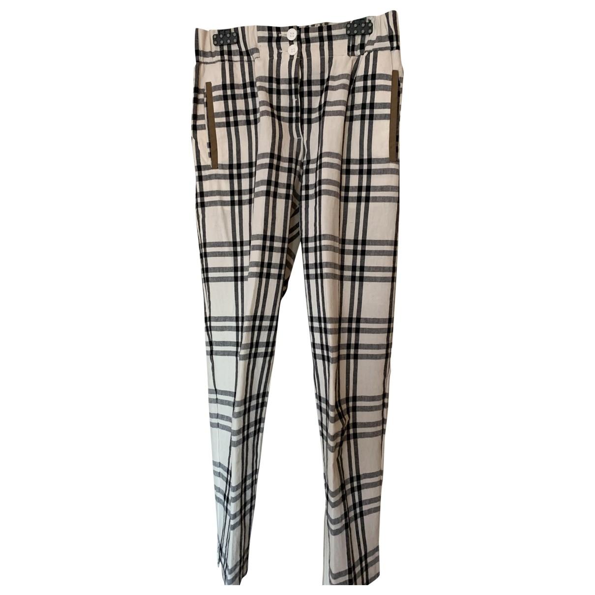 Momoni \N Beige Cotton Trousers for Women 40 IT