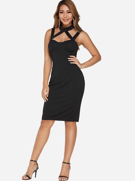 Yoins Black Backless Design Cross Front Sleeveless Dress