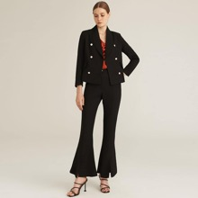 Shawl Collar Double Breasted Blazer and Flare Leg Pants Set