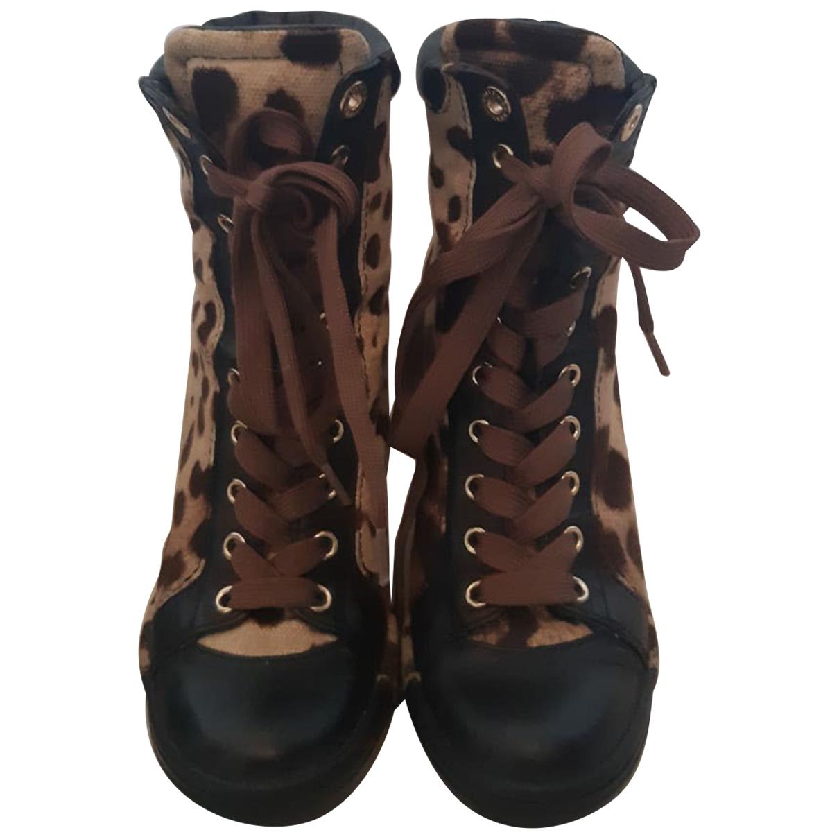 Dolce & Gabbana \N Brown Cloth Trainers for Women 35.5 EU