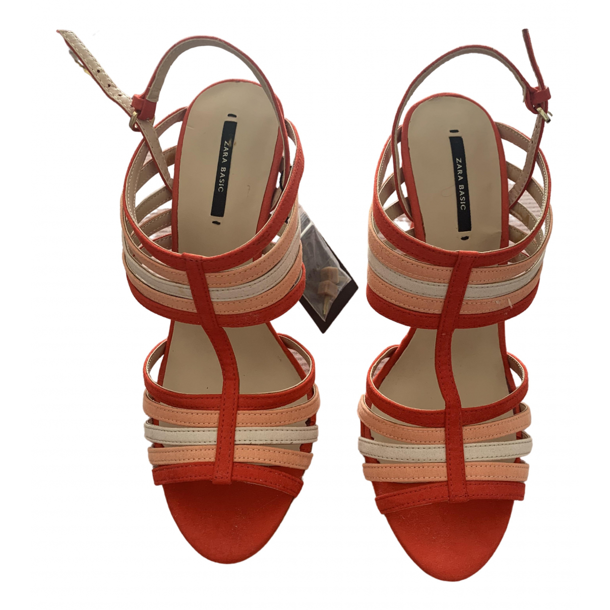 Zara \N Sandalen in  Rot Veloursleder