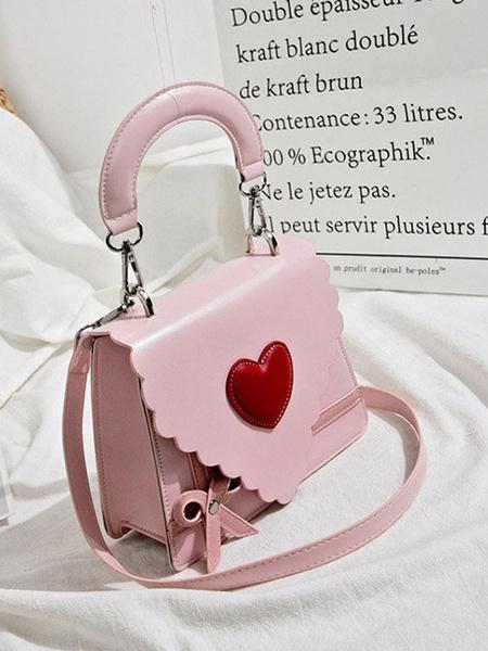 Milanoo Sweet Lolita Bag Pink PU Leather Handbag Lolita Accessories