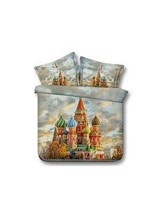 Saint Basil's Cathedral Printed Cotton 4-Piece 3D Bedding Sets/Duvet Covers