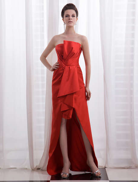 Milanoo Vestido de fiesta de saten plisado de color rojo sin tirantes
