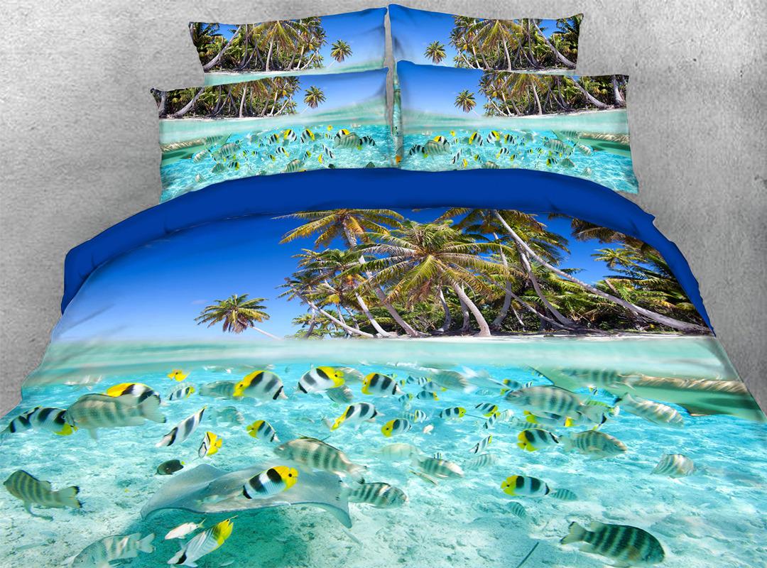 Ocean Tropical Fish Coconut Palm Machine Wash Duvet Cover Set Four-Piece Set Reactive Printing Polyester Bedding Sets