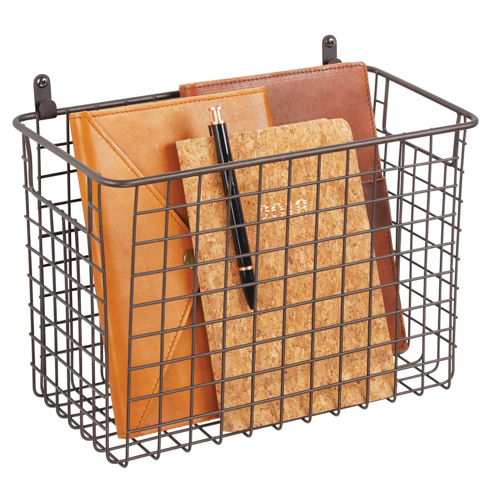 Large Metal Wire Wall Mount Storage Basket in Bronze, 6