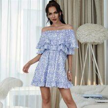 Eilly Bazar Schulterfreies Kleid mit mehrschichtigem Raffungsaum und Dalmatiner Muster