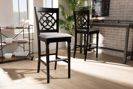 Alexandra Collection RH322B-GREY/DARK BROWN-BS Modern and Contemporary Grey Fabric Upholstered and Espresso Brown Finished Wood 2-Piece Bar Stool