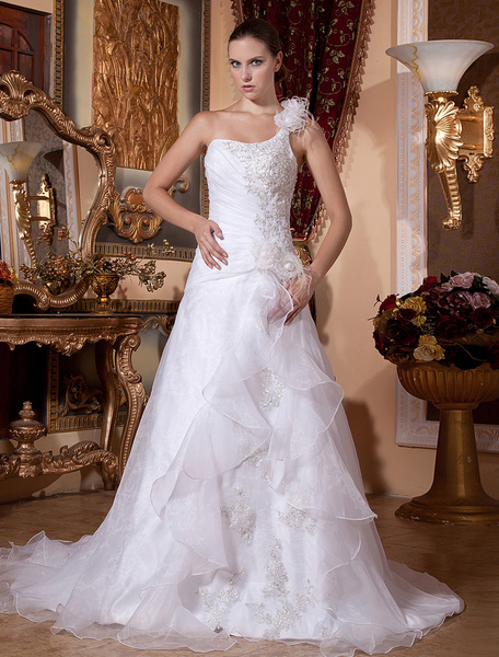 Milanoo White Rococo A-line One-Shoulder Organza Beading Bridal Wedding Dress