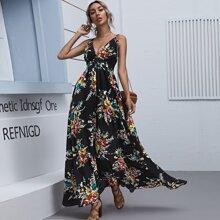 Plunging Neck Crisscross Backless Floral Maxi Dress