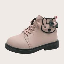 Girls Cartoon & Bow Decor Combat Boots