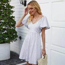 Tie Back Surplice Striped A-line Dress