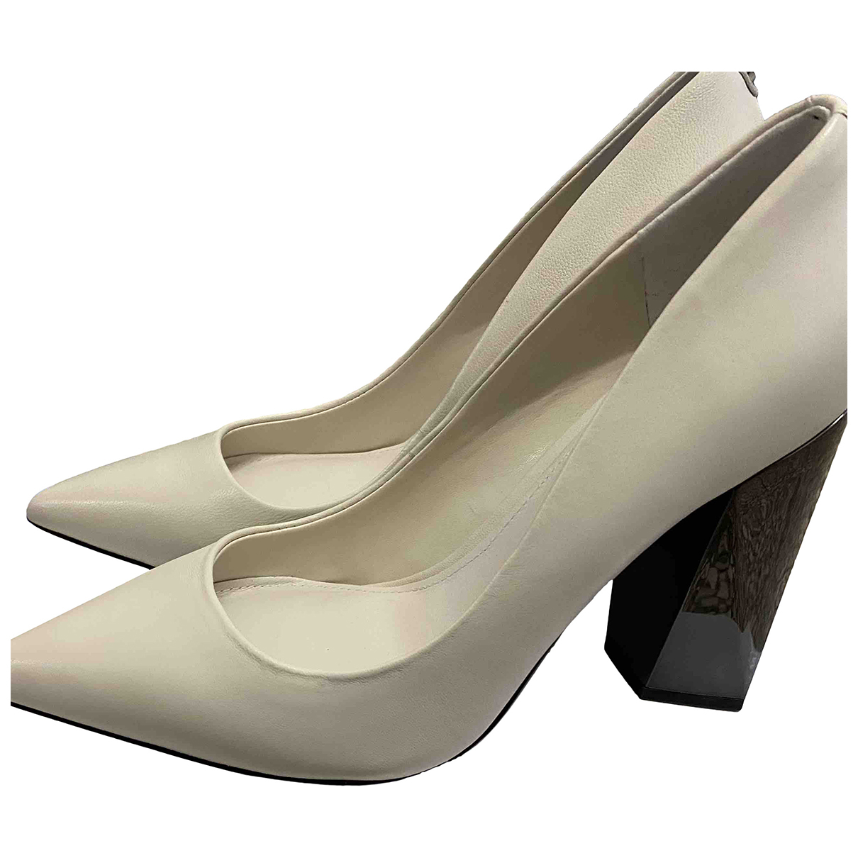 Guess N White Leather Heels for Women 37 EU