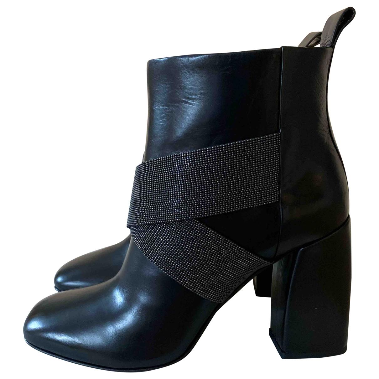 Brunello Cucinelli - Boots   pour femme en cuir - noir
