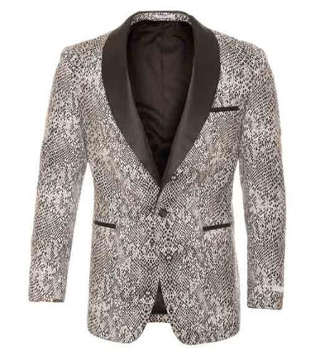 Silver Tuxedo Modern Fit Black / White Tonal Snake Pattern Blazer