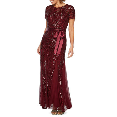 R & M Richards Short Sleeve Sequin Evening Gown, 8 , Red