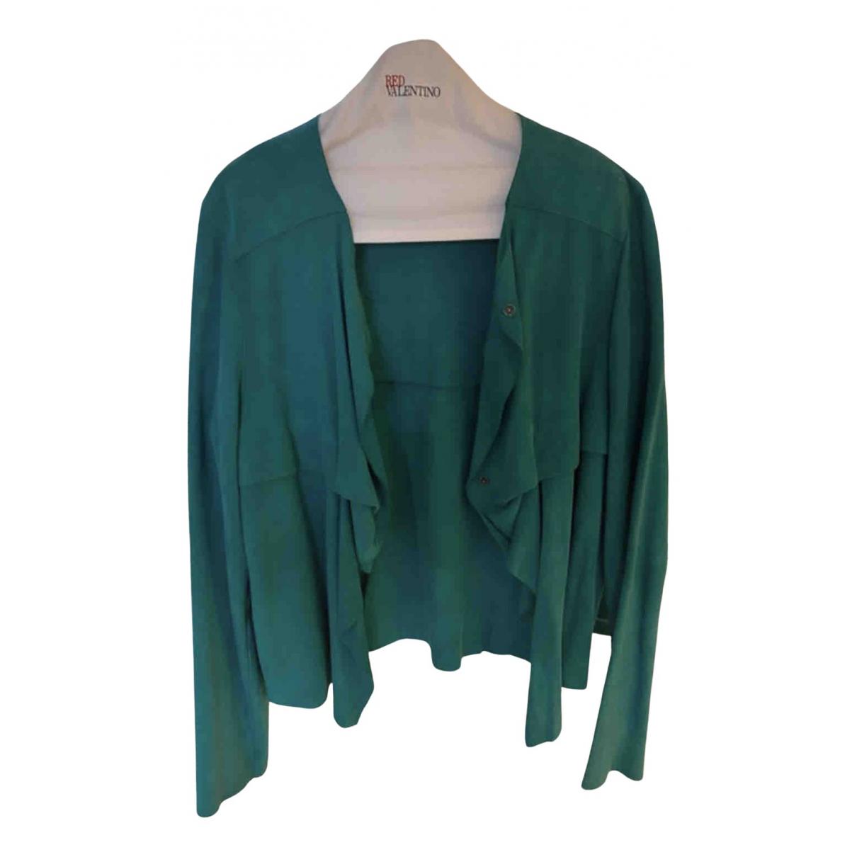 Kenzo - Veste   pour femme en suede - turquoise