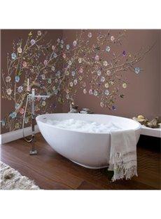 Colorful Plum Blossom Pattern Design Decorative Waterproof 3D Bathroom Wall Murals
