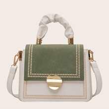 Color Block Metal Decor Satchel Bag