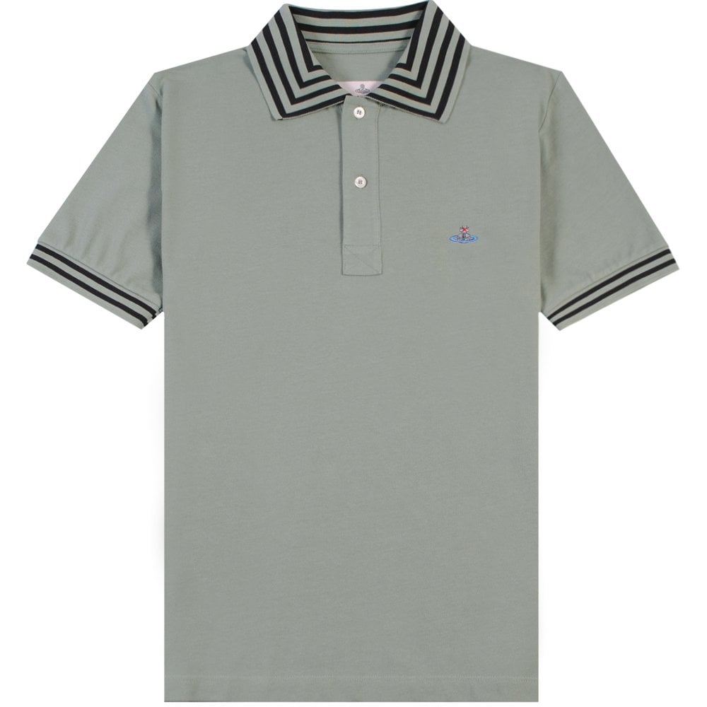 Vivienne Westwood Multi Stripe Polo Size: MEDIUM, Colour: GREEN