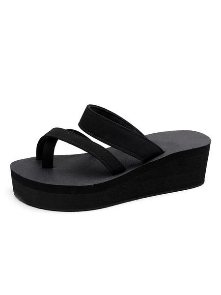 Milanoo Women Red Sandals Open Toe Platform Beach Sandals Sandal Slippers
