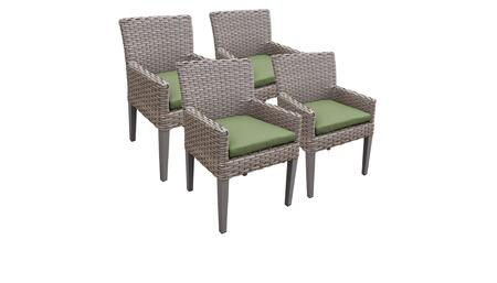 Monterey Collection MONTEREY-TKC297b-DC-2x-C-CILANTRO 4 Dining Chairs With Arms - Beige and Cilantro