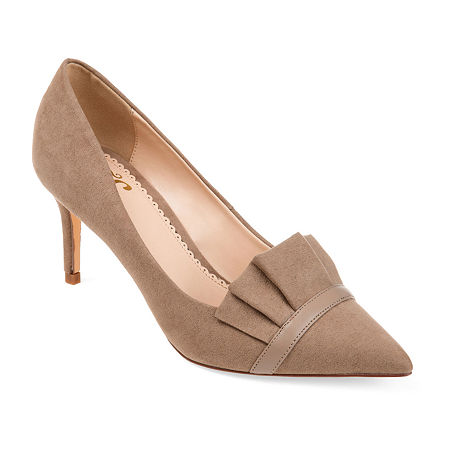 Journee Collection Womens Marek Heeled Pump, 6 Medium, Beige