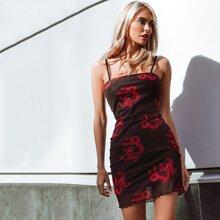 Kleid mit Drachen Muster und Netzstoff